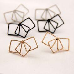 Women Fashion Jewelry Punk Multi Geometric Squares Clip Wrap Pierced Earrings | eBay