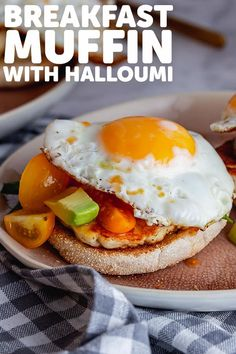 This healthy and tasty breakfast muffin is made with fried halloumi, a bright and fresh avocado salsa and all topped with a runny fried egg. These make the perfect breakfast any day of the week! #thecookreport #breakfastmuffin #halloumirecipe #breakfastrecipe