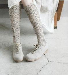 Japanese Crochet Lace Socks Pattern Japanese Craft by DotsStripes Lace Socks, Crochet Slippers, Knooking, Japanese Crochet, Granny Chic, Boot Cuffs, Crochet Accessories, Knitting Socks, Knit Socks