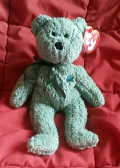 Green SHAMROCK Bear Ty Beanie Baby Irish March 17 297f7abdafbb