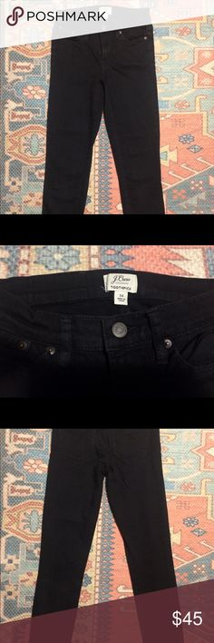 J.Crew Black Jeans Toothpick Sits at hip. Midrise. Fitted through hip and thigh, with a superskinny, ankle-length leg. Excellent condition J. Crew Jeans Skinny