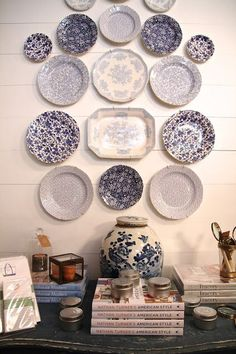 Blue white plate wall