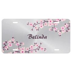 Floral Cherry Blossoms Pink Silver License Plate - trendy gifts cool gift ideas customize