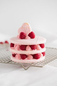 Recipe and instructions for making a french macaron cake filled with fresh raspberries and raspberry frosting. French Donuts, French Macaroons, Vanilla Bean Frosting, Raspberry Frosting, Macaroon Cake, E Claire, Crepe Cake, Winter Desserts, Bakery Recipes