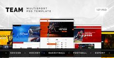 Team — Sport and eSport Club PSD Template . Team — multisport PSD template that has been designed and built especially for large sport clubs and small teams. We have compiled the most interesting ideas and new trends in sports club templates throughout Themeforest and bring them to Team. In order to enable you to best represent your sport