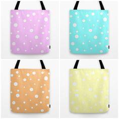 Pastel Color Polka Dots Tote Bag Vanilla Aqua Blue by MGMart