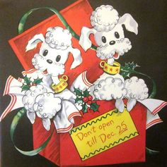 Vintage Wrapping Paper  Christmas Poodles by TillaHomestead