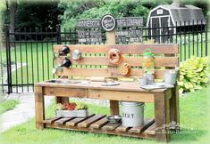 mud pie station, diy, gardening, outdoor furniture, outdoor living, repurposing upcycling, woodworking projects