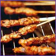 Kathi Kabab - 1 lb. tender lamb    To be grounded to a paste :  1/2 tsp pepper  1/2 tsp ginger powder  1 tsp cumin powder  1 1/2 tsp coriander powder  5-6 flakes of garlic, crushed  1 tsp chilli powder  Lemon juice or vinegar to mix  1 tbsp cooking oil  Salt to taste