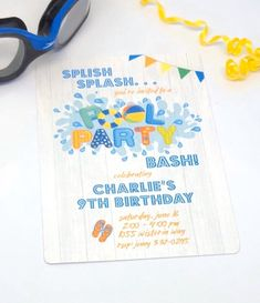 It's summertime…pool party time! Start your celebration with these adorable pool party invitations! Summer Pool Party, Summer Birthday, Sweet 16 Birthday, Birthday Themes For Boys, Birthday Games, Boy Birthday Parties, Pool Party Birthday Invitations, It's Summertime, Kids Party Games