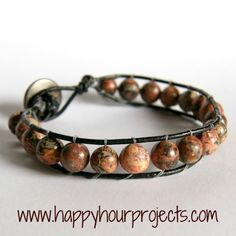 DIY Bead and Leather Bracelet with a Button Closure.