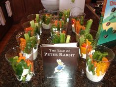 Storybook theme baby shower food- veggie cups with ranch at the bottom