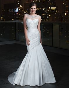 b2fe26012ed2 Justin Alexander Bridal Gowns · Justin Alexander STYLE 9725 . Shown in  Natural/SilverThis asymmetrical pleated silk dupion mermaid gown
