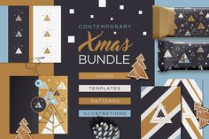 Contemporary Xmas Bundle by Polar Vectors on /Volumes/Marketing/_MOM/Design Freebies/Creative Market Freebies/Contemporary Xmas Bundle Christmas Stencils, Christmas Templates, Banner Template, Web Banner, Banners, Palettes Color, Tree Icon, Free Graphics, Pattern Illustration