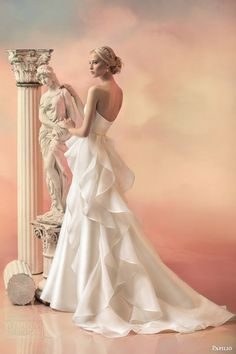 papilio bridal 2015 rebecca strapless ball gown wedding dress pearl sequin bodice ruffle train back view -- Papilio 2015 Wedding Dresses Greek Style Wedding Dress, Stunning Wedding Dresses, 2015 Wedding Dresses, Colored Wedding Dresses, Beautiful Gowns, Bridal Dresses, Gown Wedding, Bridal 2015, Bridal Collection