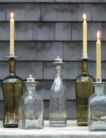 Turn wine bottles into distinctive candelabras with our Bottelabra candle accessories. Designed to hold tapers or tealights, Bottelabras are made of cast aluminum with highly polished pewter and bronze finishes.