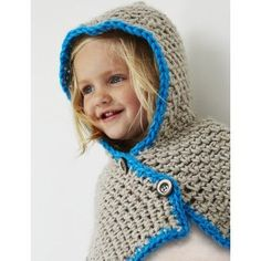 """Bernat Hooded Cowl Free Crochet Pattern for Kids. Crocheted in new Bernat Softee Baby Chunky, this hooded cowl will keep baby comfy cozy, and stylish. Crochet Skill Level: Easy SIZES: 6/12 (18/24) months. Infant, Toddler Hook Size: 8.0 mm (L) Yardage: 150-300 yrds GAUGE: 10 sc and 12 rows = 4"""" in pat. Free Pattern More Patterns Like This!"""