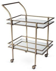 One Kings Lane Lykes Mirrored Bar Cart, Brass on shopstyle.com