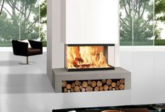 two sided ventless fireplace -