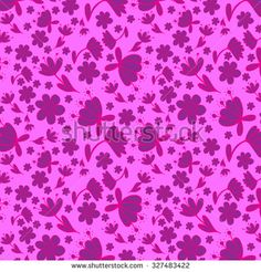 Seamless pattern with purple hand drawn doodle flowers. - stock vector