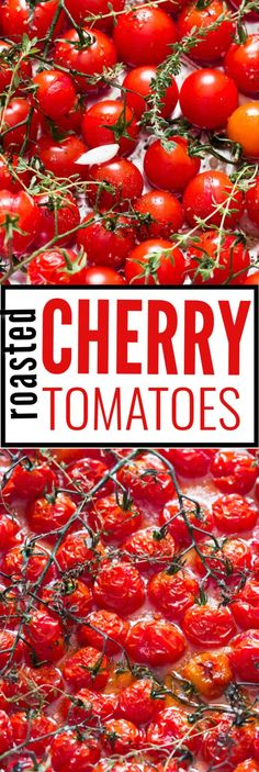 Simple, easy and healthy homemade roasted cherry tomatoes are great side dish. Use it on bruschetta, mash and add it to pasta or serve alongside roasted roasted meat. You'll fall in love with its simplicity. #tomatoes #cherrytomatoes #summerdish #summerrecipes #bruschetta #roastedtomatoes #forpasta #pastasauce #oven #roasted #recipes #easy #pasta #sauce #howto #slow #garlic #pastarecipes #dinnerecipes