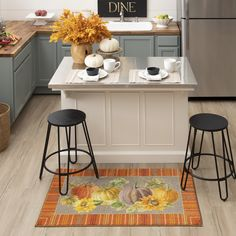 A striped frame with fall inspired colors of orange, yellow, grey and beige surrounds a playful autumn pumpkin patch scene in the Border Pumpkins Mat in Orange. #fall #falldecor #doormat #pumpkinspice #kitchendecor #coffee #lowes #homedecor #pumpkins #autumn #homedecor #arearugs #mohawkhome #mohawk #plaid Decor, Fall Home Decor, Autumn Home, Kitchen Storage, Small Kitchen Storage, Kitchen Decor, Home Decor, Kitchen, Mohawk Home