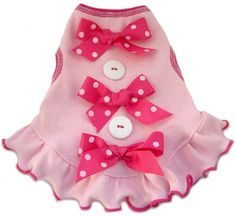 I See Spot's Dog Pet Cotton Dress with Buttons and Bows, Large, Pink $27.24