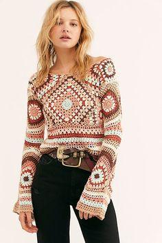 Little Treasures: Granny Squares for Apparels Crochet Blouse, Knit Crochet, Diy Blouse, Crochet Designs, Crochet Patterns, Sewing Patterns, Moda Crochet, Facon, Crochet Fashion