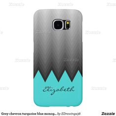 Grey chevron turquoise blue monogram design samsung galaxy s6 cases