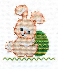 Simple cross-stitch pattern Easter Bunny is an easy way to learn how to do cross stitching and decorative seams back stitch, French Knot and worm. Instructions with pictures attached.