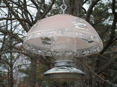 Old Pink Glass Lamp Shade Bird Feeder Outdoor Spaces, Outdoor Living, Garden Bird Feeders, Garden Gates, Birdhouses, Recycled Glass, Yard Art, Garden Ideas, Gardens