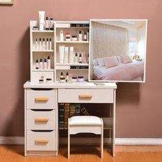 Dresser bedroom make-up table simple modern small mini-size vanity – Today Special Value Dressing Table Design, Dresser Design, Room Design, Interior, Furniture For Small Spaces, Bedroom Furniture, Diy Furniture Bedroom, Dresser Modern Design, Furniture Design
