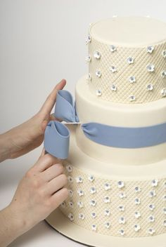 How to put a bow into the side of a cake (and tutorial for how to decorate this whole cake)