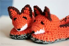 """From fan Atelier Handmade: """" Foxie slippers for adults made with Red Heart Detroit Yarn."""""""