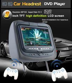 """9"""" nakkestøtte med DVD afspiller, 32 spil, USB/SD-kort afspiller, samt AV-indgang til DVB-TV signal, osv. Besøg www.tabletcafe.dk"""