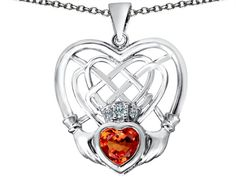 Star K Celtic Knot Irish Heart Claddagh Pendant Necklace with Heart Shape Simulated Orange Mexican Fire Opal