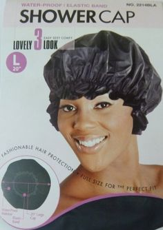 Look at this:  Shower Cap LARGE LG in Black