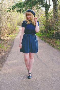 Raspberry beret and a matching dress to boot #stylegallery II Shop blue fashion: http://mod.com/1tq5j9B?
