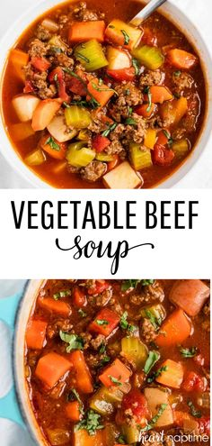 Vegetable Beef Soup One-Pot Hearty Vegetable Soup - Easy to make, healthy and completely delicious! This vegetable beef soup is packed full of veggies and is approved, gluten-free and paleo. Beef Soup Recipes, Healthy Soup Recipes, Lunch Recipes, Paleo Soup, Easy Recipes, Drink Recipes, Healthy Winter Recipes, Healthy Hearty Soup, Whole30 Soup Recipes