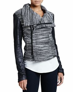 Queensway Leather-Sleeve Tweed Jacket by SW3 Bespoke at Neiman Marcus. $96.75