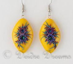 Flower Earrings, Polymer Clay Flower Earrings, Hippie Earrings, Boho Earrings, Polymer Clay Earrings, Hippie Jewelry, Boho Jewelry, Gypsy