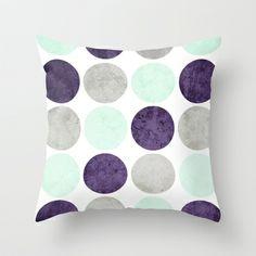 Circles (Mint, Purple, Gray) Throw Pillow