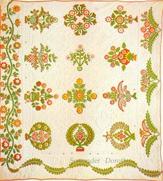 All 3 borders are different.  Applique quilt with trapunto. 1860.  Photo by SurrendrDorothy, via Flickr