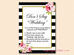 Don't say Wedding clothespin game Black White by MagicalPrintable