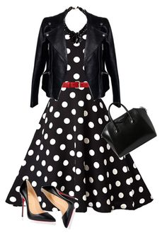 """Vintage 50S Style Black & White Polka Dot Print Swing Dress"" by alisha-666 ❤ liked on Polyvore featuring Gucci, Christian Louboutin, Yves Saint Laurent, Alexander McQueen, Givenchy and vintage"