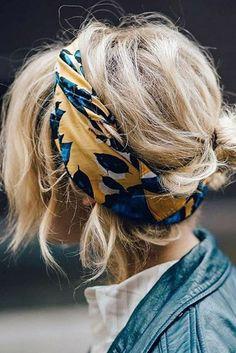 foulard dans les cheveux, belle coiffure cheveux blonds décoiffés