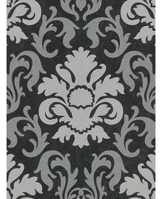 Carat Damask Glitter Wallpaper - Silver and Black - 13343-40