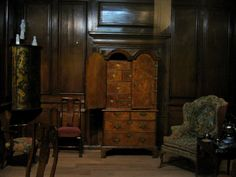 "An English Dressing Room, c. 1710-1730 at the Royal Ontario Museum, Toronto - From the curators' comments: ""This setting represents a room from an upper middle-class London town house....By this time, comfortable, upholstered furniture was becoming more common since more people could afford it. For example, easy (easie) chairs were found in bedrooms or private rooms, where people could rest."""