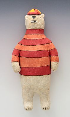 Bear with Cap and Striped Shirt Ceramic Wall by saraswink on Etsy