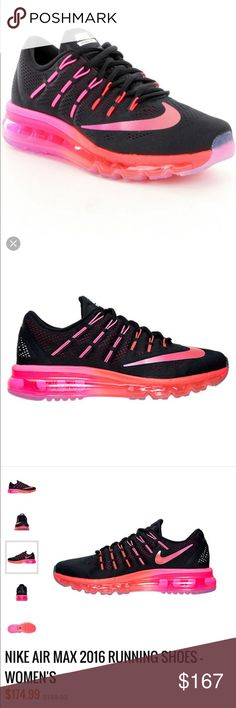 NWT✔️Nike✔️Women's Nike AirMax 2016 NWT✔️Nike✔️Women's Nike AirMax 2016 in black and noble red. Please see above description of shoe...I own these and wear them almost every day as a nurse, they are so comfortable and adorable! My vendor didn't send all sizes with a box, so if a box is a must please let me know BEFORE you make an offer. All shoes are brand new  please check out my other listings and reviews as all are PHENOMENAL  Nike Shoes Athletic Shoes